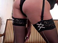 Stunning housewife in stockings is alone at home so she wants to masturbate a little bit 5