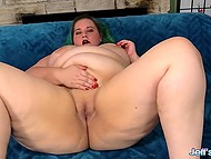 Nice BBW with green hair shakes fat tummy and fucker penetrates large pussy on the blue couch 4