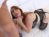 Sexy redhead Penny Pax sucks handyman's cock to show how much she appreciates his help 4