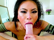 Asian whore shows excellent cocksucking skills in gonzo porn video and man cums on her face 6
