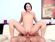 Skinny brunette impaled in several hot poses before receiving jizz all over her tongue 4