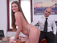 Bald boss spend lunch break with slutty secretary who loves nasty anal penetration 4