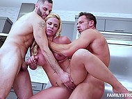 Gorgeous blonde Phoenix Marie instead breakfast wanted to be drilled by husband and his stepson