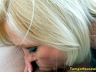 Driver picked up mature blonde who agreed to gag on his thick meatstick right in car 7