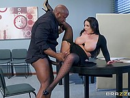 Black guy is happy that he can satisfy carnal urges on his white secretary in office 10