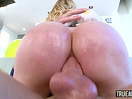 Rich bitch with long hair moans and enjoys fucker's cock drilling her anus on camera 9