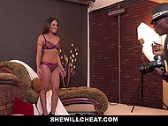 Asian girl Kaylani Lei comes to a studio where takes part in naked photo session and has sex with black man 4