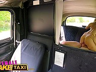 Blonde Czech taxi driver with giant breasts offers young passenger to pay for ride with hot sex 11
