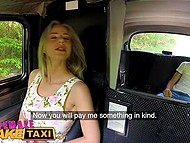 Blonde Czech taxi driver with giant breasts offers young passenger to pay for ride with hot sex 5
