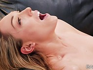 Doctor Abigail Mac and slim nurse Lily Labeau eat each other's trimmed twat during lunch break 11