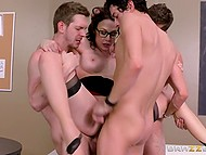 Slutty teacher Chanel Preston during lecture lets excited students fuck all her holes 10