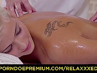 Active use of oil makes it easier for masseur to shove dick into blonde's shaved pussy 4