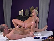 Client's bulge was so tempting that masseuse Lovita Fate wastes no time jumping on it for ride