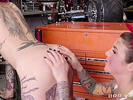 Bad biker bitches Felicity Feline and Anna Bell Peaks fuck wildly right in the garage 6