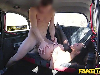Taxi driver lets passenger check his feet but she notices his boner and wants to taste it