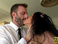 Busty brunette from United Kingdom uses vibrator during sex and it gives her double pleasure 8