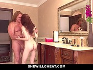 Unfaithful wife leaves the door unlock and naked lover comes soon to satisfy girl's sexual needs 4