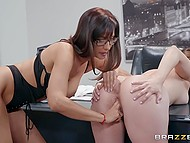 College girl Jenna Sativa shows wet pussy to principal Isis Love and woman satisfies her 7