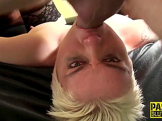 Cameraman hints to man that short-haired blonde needs something namely hard cock deep in her throat