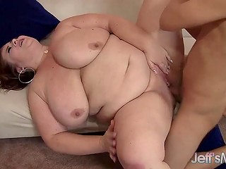 Young lovelace has the cunning attack and he figures out a way to make it with sexy BBW