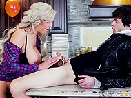 Powerful frictions by young man give a lot of pleasure to MILF with platinum hair and giant boobs 4