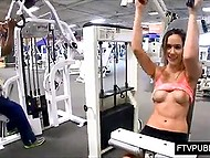 Gym workout makes chick feel confident so now she is brave enough to flash her charms in presence of other people