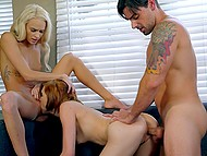 Guy instead watching movie has sensual threesome with blonde Emma Hix and her girlfriend