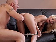 Guy dates an unfaithful girlfriend who sucks his stepdad's cock one day before man fingers pussy
