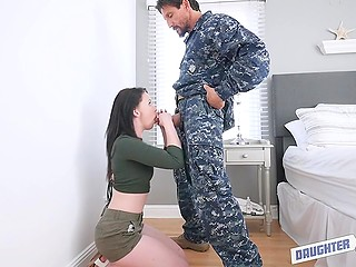 Military men are tired of stepdaughters' behavior and swap girls to give them cocks for sucking