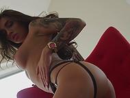 Good-tempered schoolgirl seductively undresses to demonstrate her amazing body 11
