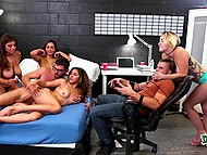 While bespectacled boy is having fun with three hot student girls, his tied roommate has to watch it