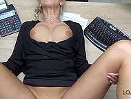 Czech blonde with pigtail has to spread legs for bank employee to receive a loan quickly 9