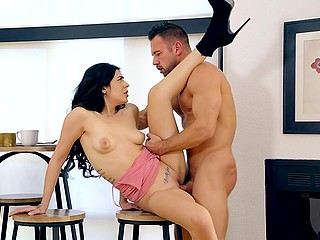 Muscular man penetrates shaved pussy of young mistress Audrey Royal in various ways