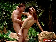 Naked girl masturbates pussy in the jungle and local inhabitant fucks excited pussy when finds her