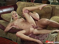 Smoking-hot blonde with great tits and her man spend evening by having fun in living room