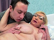 Young lover takes pictures of old woman touching tits and fucks her on the bed after licks pussy 4