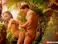 Muscled king of the jungle and ravishing Latina girl follow basic instincts and have sex in the fresh air