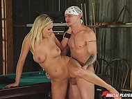 Attractive blonde barmaid Teal Conrad needs money to pay rent and she offers customer to fuck her