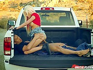 Asian student stretches chesty colleague Rikki Six on car in the middle of big desert 9
