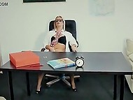 Secretary from Portugal masturbated in office till boss came and offered her his cock 6