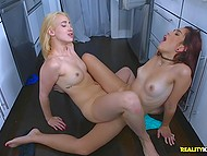 Pretty girl with red hair goes to fridge but blonde roommate catches her and fingers pussy