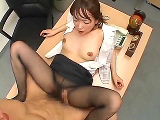 Japanese babe takes a break and plays dirty games with colleague that end with cum on torn tights