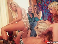 Four attractive blondes eat each other's sweet pussy while curious couple watches this fun 4