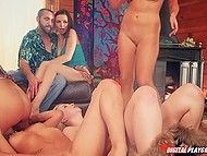 Four attractive blondes eat each other's sweet pussy while curious couple watches this fun 9