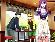 Female character from hentai movie is a possessor of beautiful purple hair and she likes sexual perversions