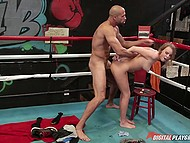 Box teacher and his lovely disciple Alexis Adams have sex like bunnies right in the ring 6