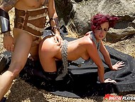 Battle between bald warrior and rebellious Jada Stevens ends with outdoor fuck on ground