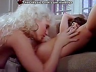 Friend catches blonde in black stockings masturbating and decides to help her a little bit 10