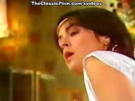 Brunette woman from a vintage porn video was tempted by admirer with big sexy mustache 8