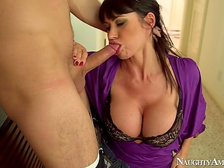 Young guy meets in hotel room with stunning MILF Eva Karera for farewell copulation